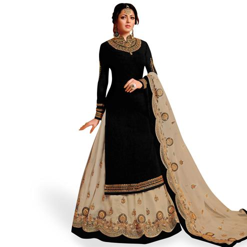 Delightful Black Colored Partywear Embroidered Net Lehenga Kameez