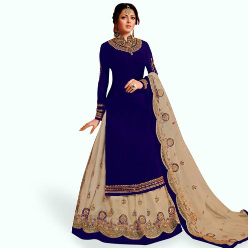 Captivating Royal Blue Colored Partywear Embroidered Net Lehenga Kameez