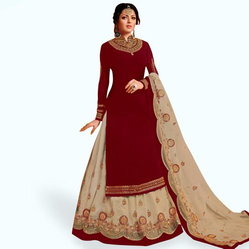 Innovative Maroon Colored Partywear Embroidered Net Lehenga Kameez