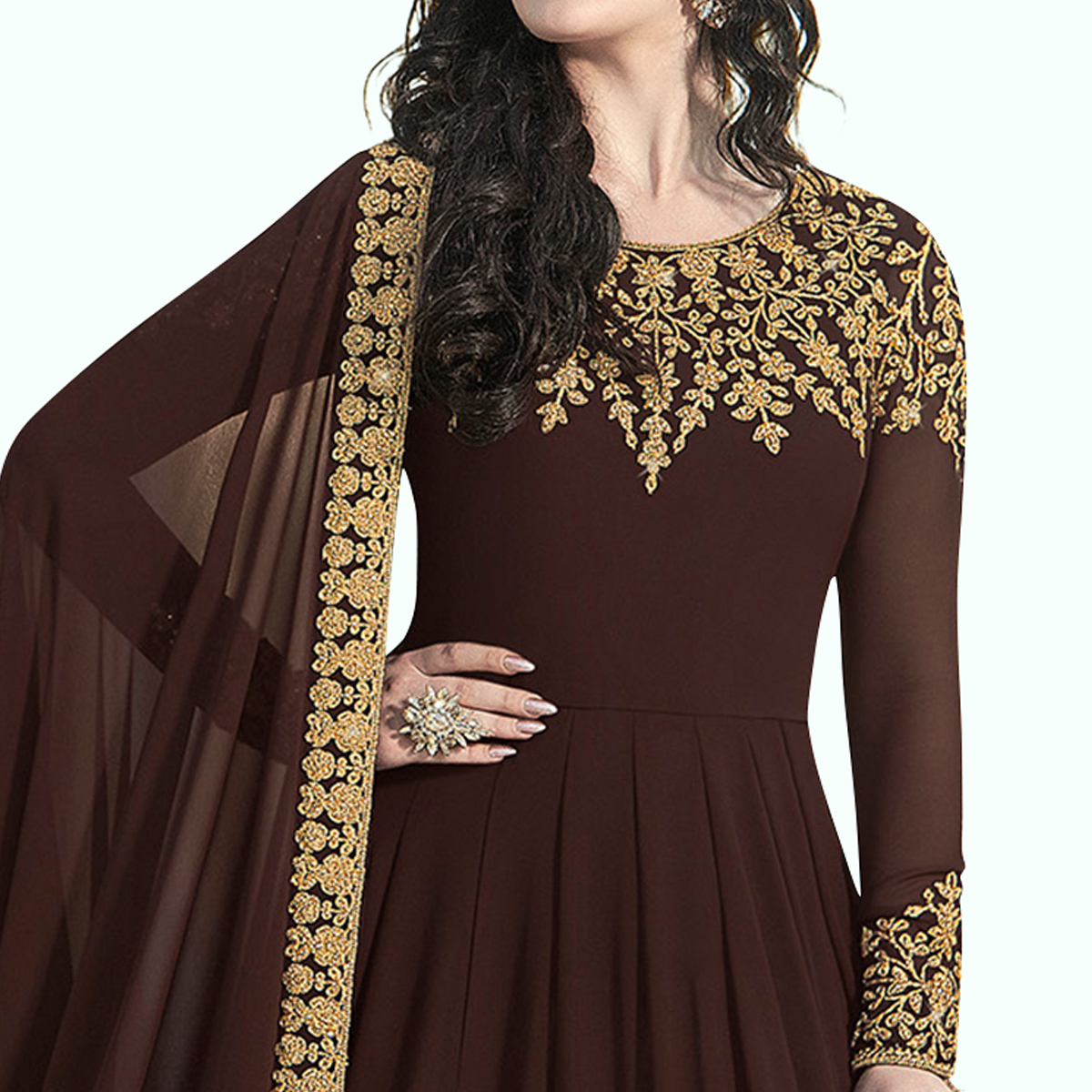 Arresting Brown Colored Partywear Embroidered Faux Georgette Anarkali Suit
