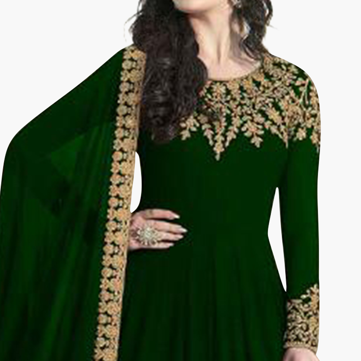Exotic Green Colored Partywear Embroidered Faux Georgette Anarkali Suit