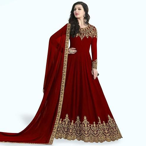 c7b87e74a5 Engrossing Maroon Colored Partywear Embroidered Faux Georgette Anarkali Suit