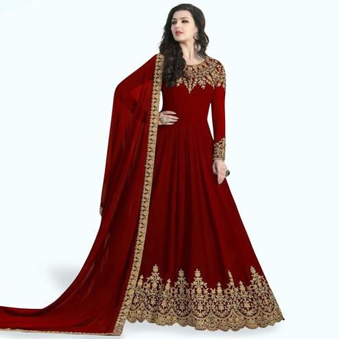 Engrossing Maroon Colored Partywear Embroidered Faux Georgette Anarkali Suit