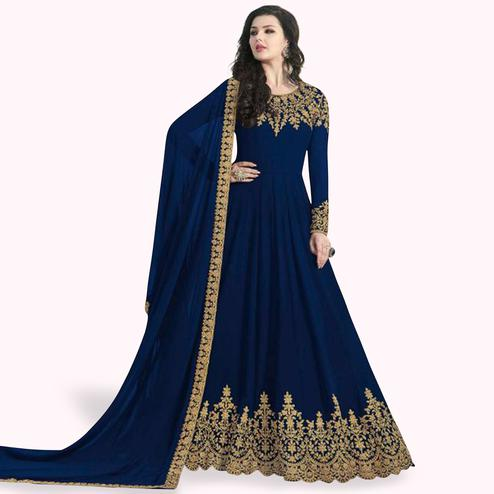 Gorgeous Blue Colored Partywear Embroidered Faux Georgette Anarkali Suit