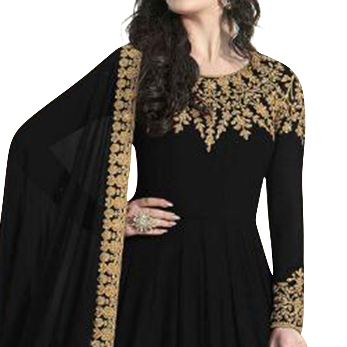 Hypnotic Black Colored Partywear Embroidered Faux Georgette Anarkali Suit