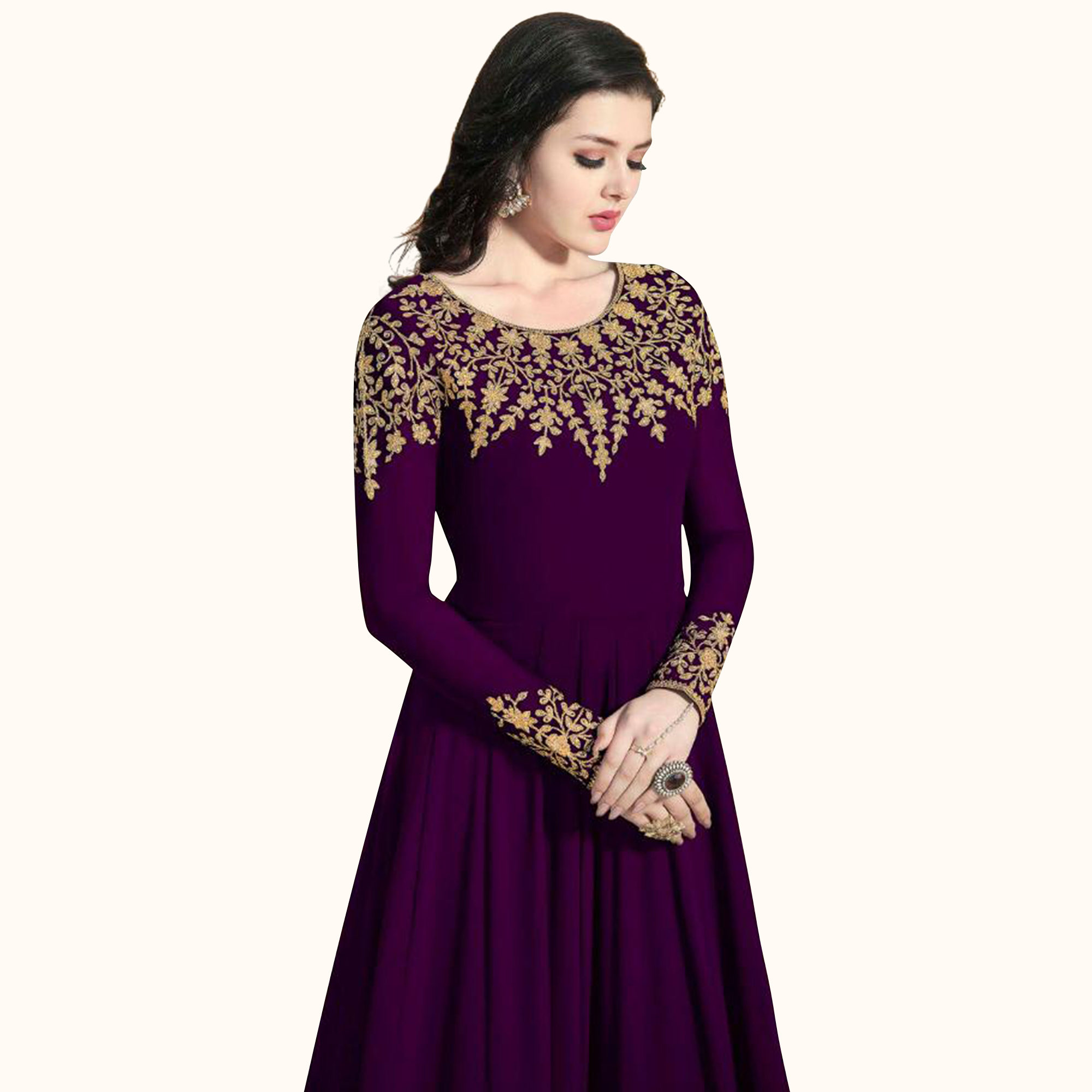 Magnetic Purple Colored Partywear Embroidered Faux Georgette Anarkali Suit