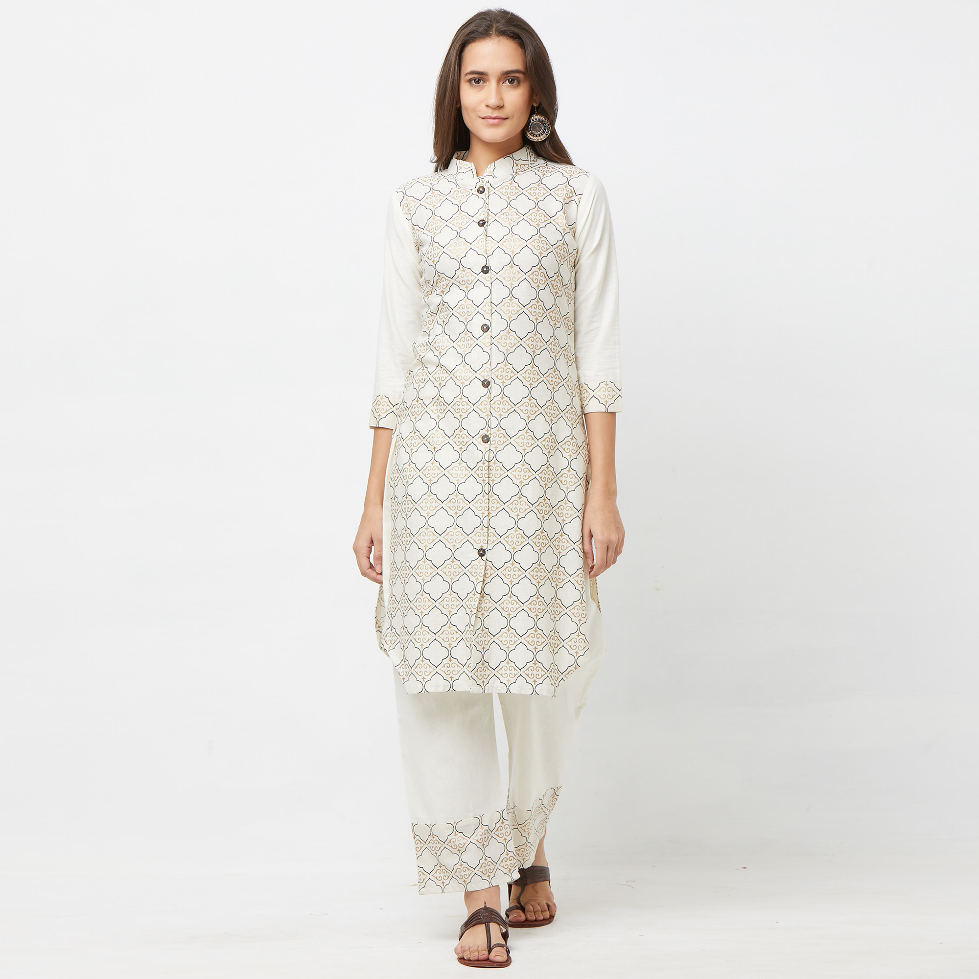 Trendy White Colored Casual Printed Cotton Kurti-Palazzo Set