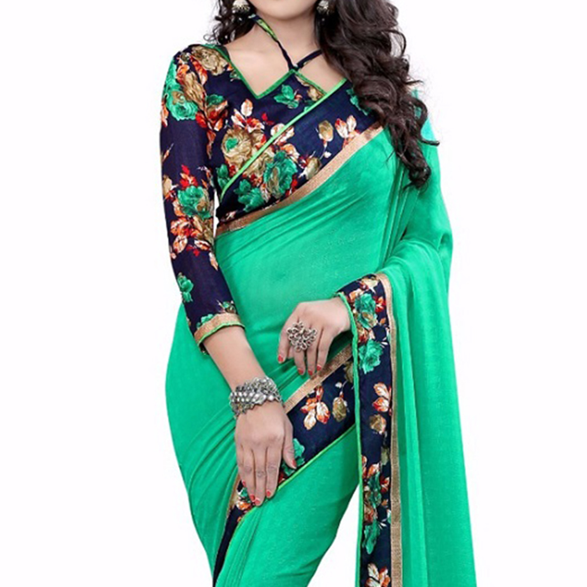 Green Printed Lace Work Georgette Saree