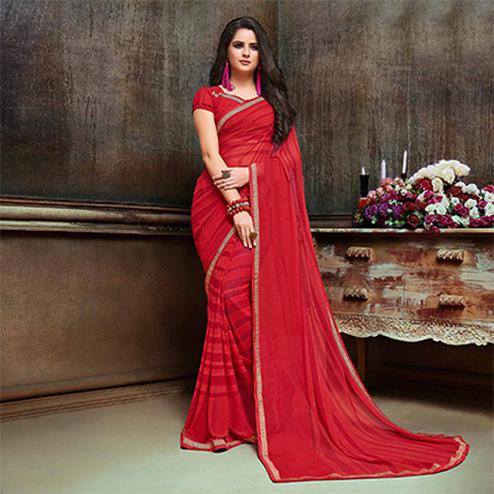 Ravishing Red Georgette Printed Saree