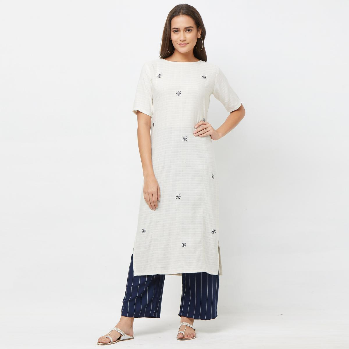 Magnetic White-Navy Blue Colored Casual Printed Cotton Silk Kurti-Bottom Set