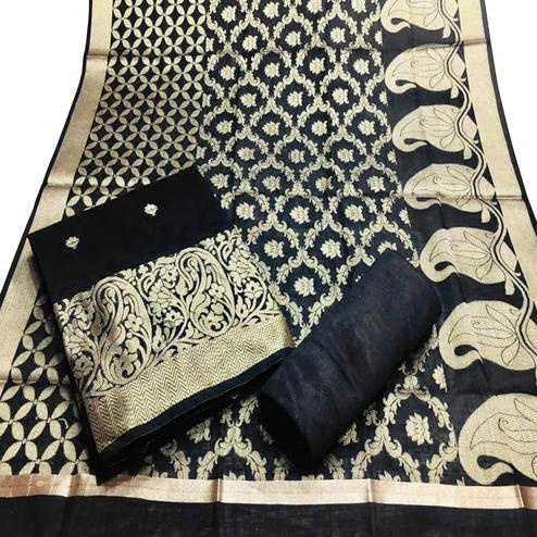 Jazzy Black Colored Partywear Woven Banarasi Silk Dress Material