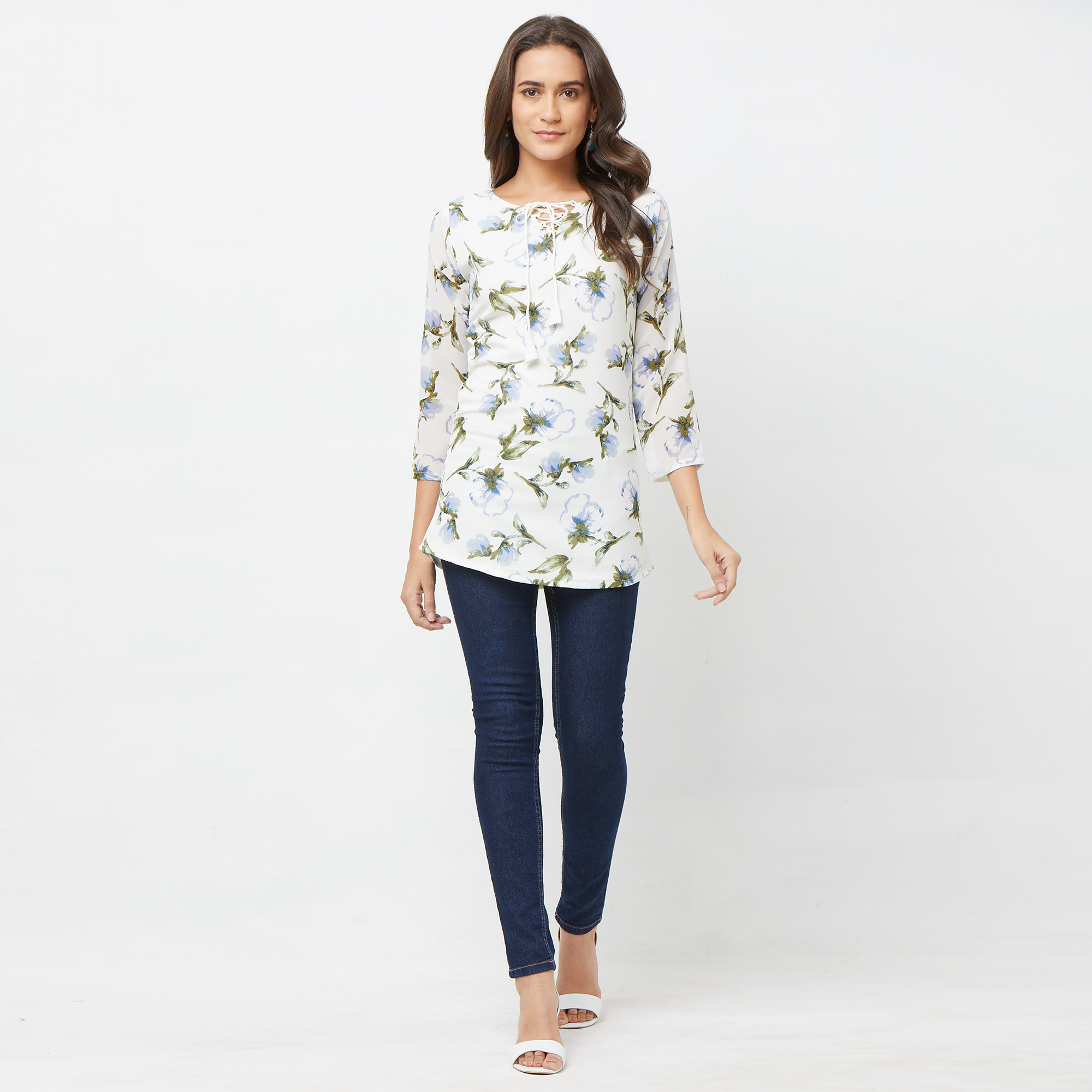 Elegant White Colored Casual Printed Georgette Top