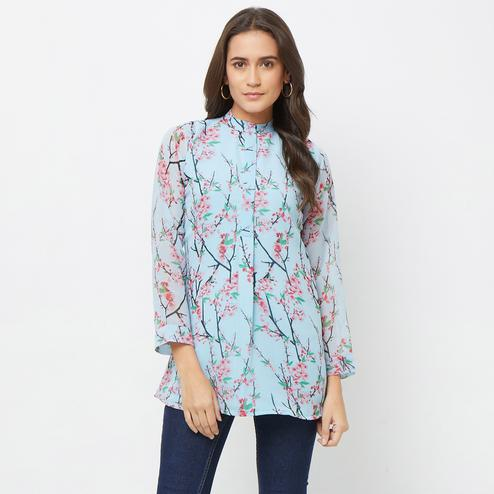 Radiant Aqua Blue Colored Casual Printed Georgette Top