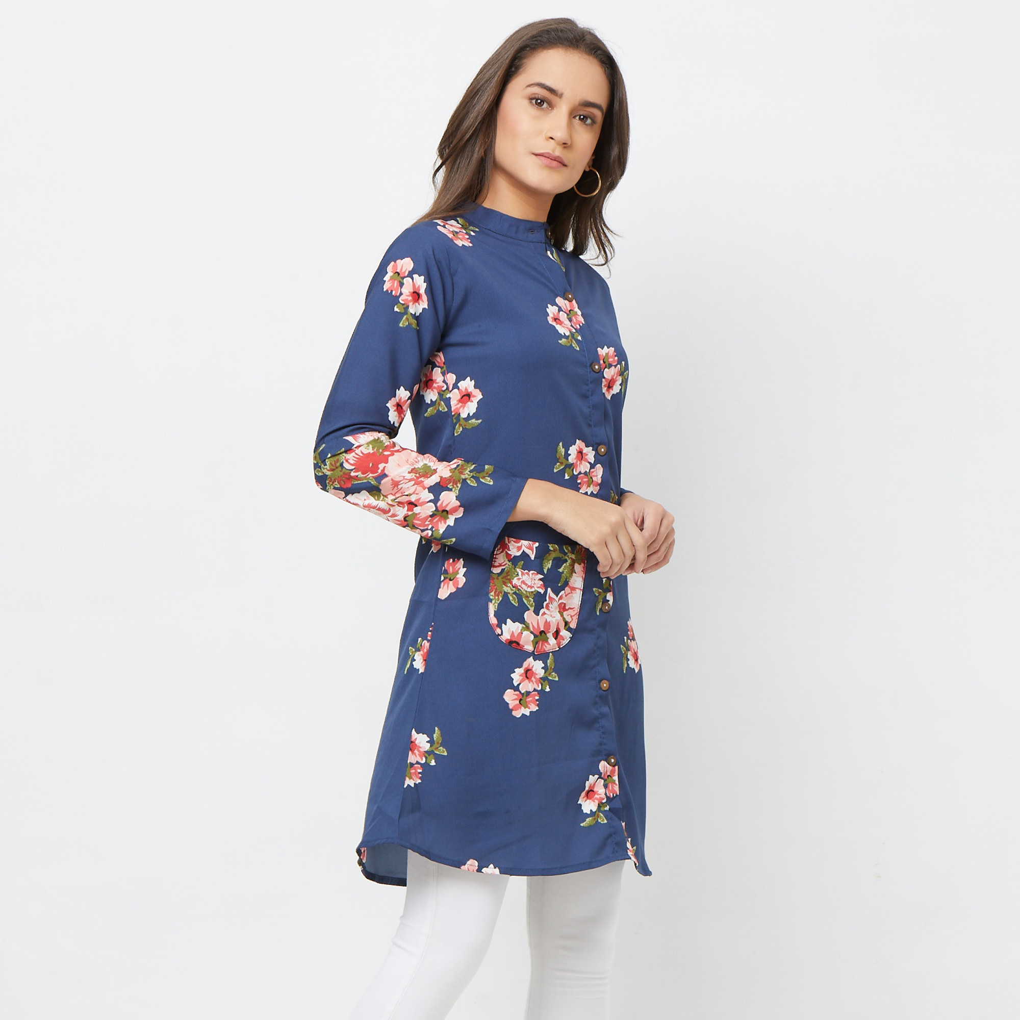 Pleasant Navy Blue Colored Casual Printed Crepe Tunic