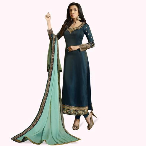 Mesmerising Rama Blue Colored Partywear Embroidered Satin-Georgette Suit