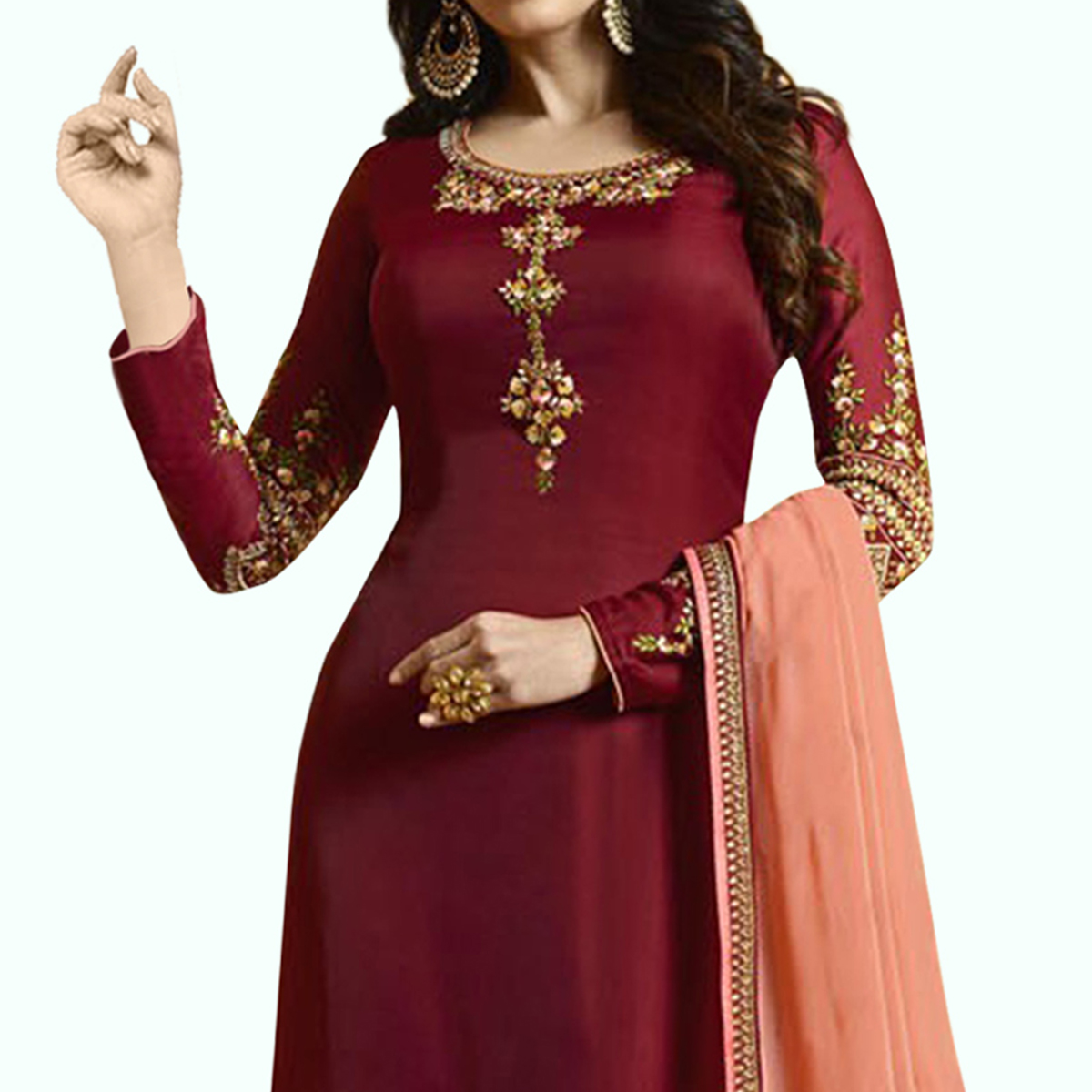 Pleasance Red Colored Partywear Embroidered Satin-Georgette Suit