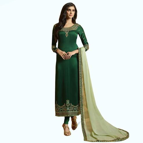 Breathtaking Green Colored Partywear Embroidered Satin-Georgette Suit