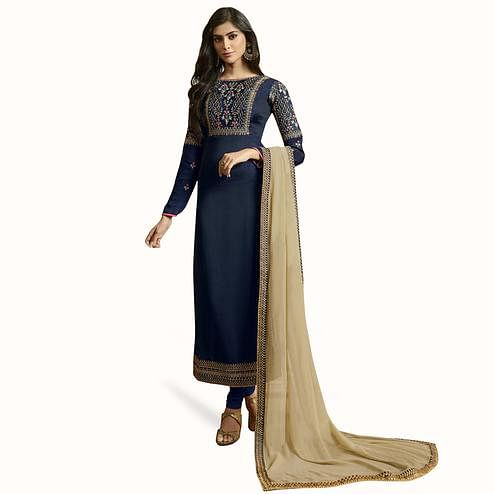 Surpassing Blue Colored Partywear Embroidered Satin-Georgette Suit