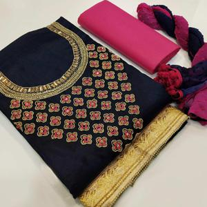 Flattering Navy Blue Colored Partywear Embroidered Cotton Dress Material