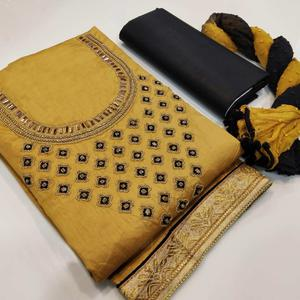 Excellent Yellow Colored Partywear Embroidered Cotton Dress Material
