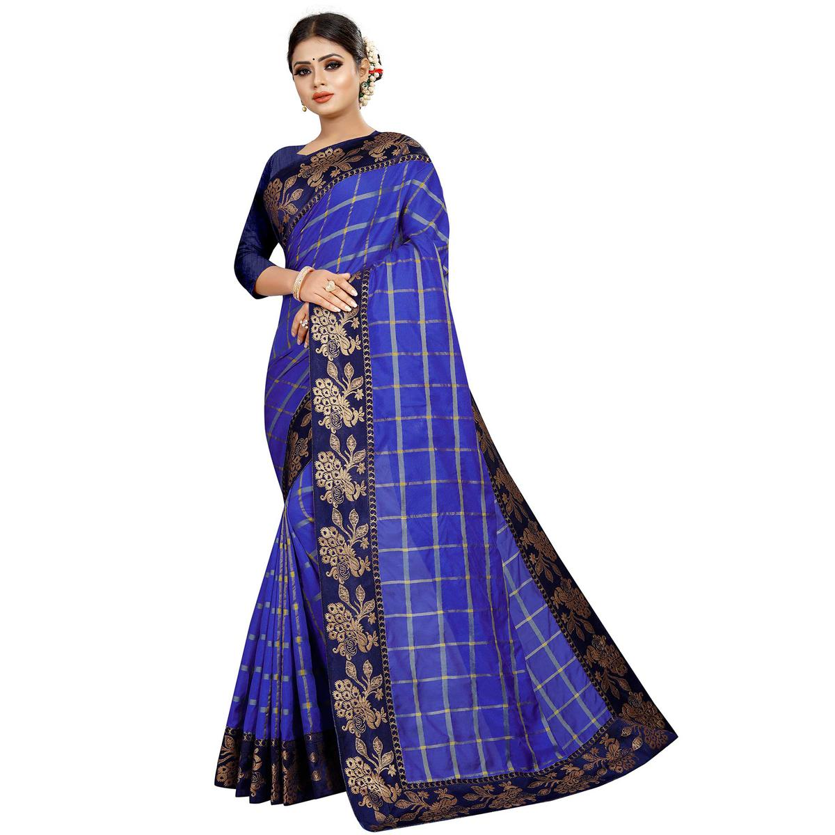 Unique Blue Colored Festive Wear Woven Silk Saree