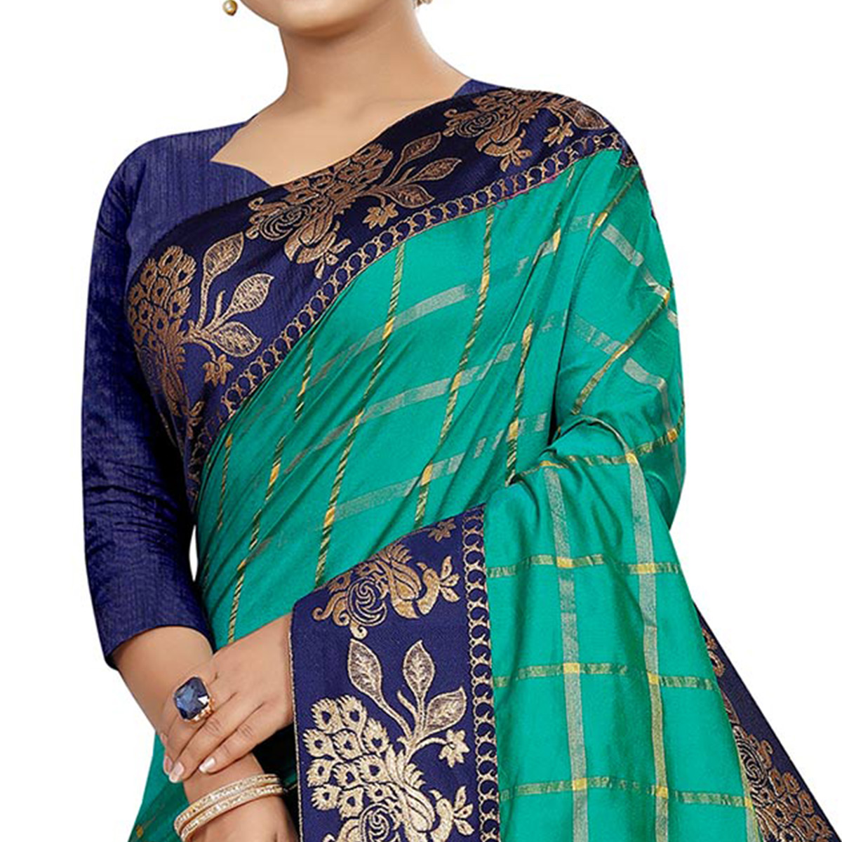 Demanding Turquoise Green Colored Festive Wear Woven Silk Saree