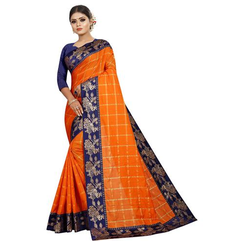 Refreshing Orange Colored Festive Wear Woven Silk Saree
