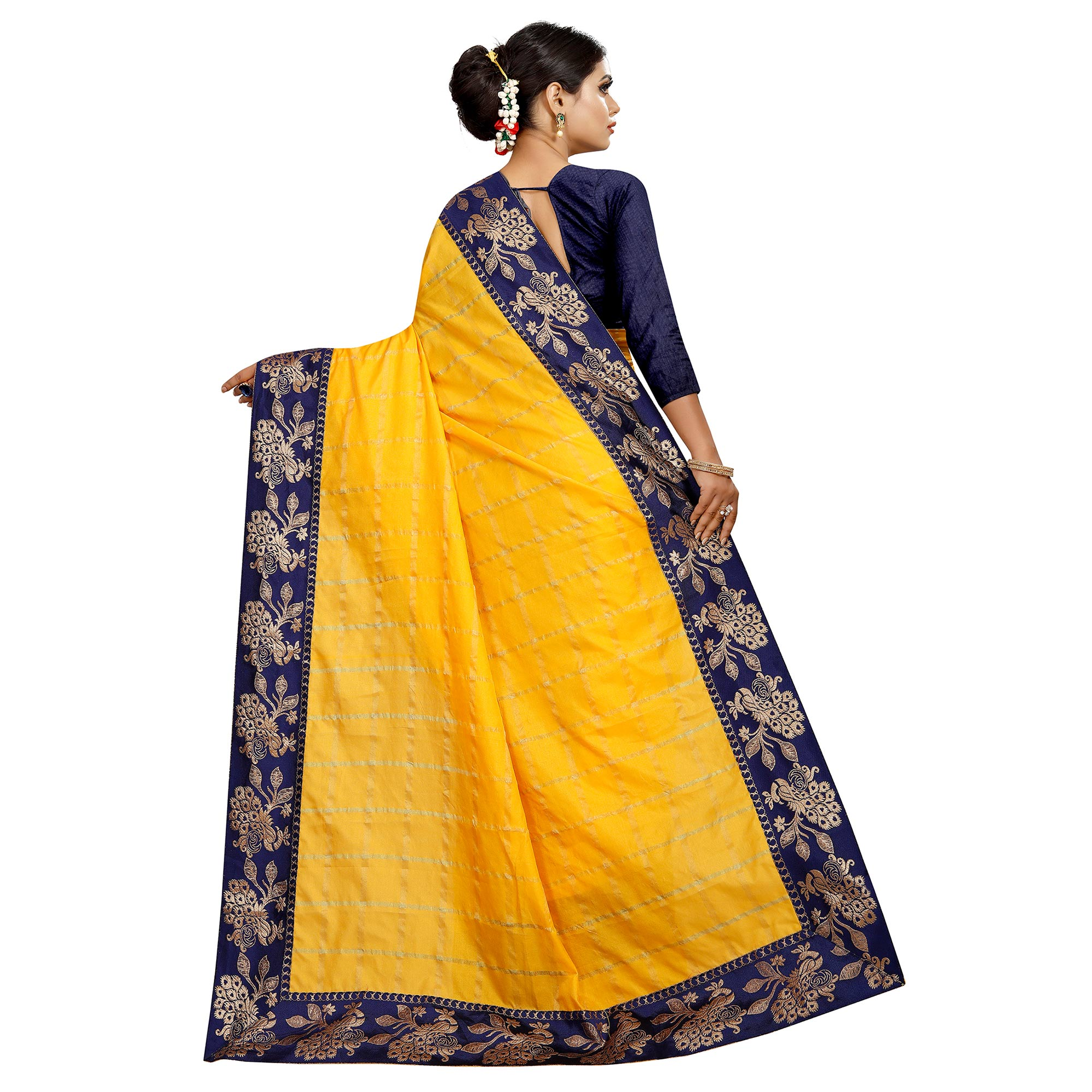 Magnetic Yellow Colored Festive Wear Woven Silk Saree