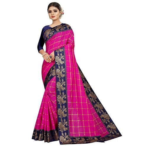 Hypnotic Pink Colored Festive Wear Woven Silk Saree