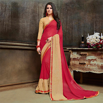 Stylish Pink - Beige Georgette Printed Saree