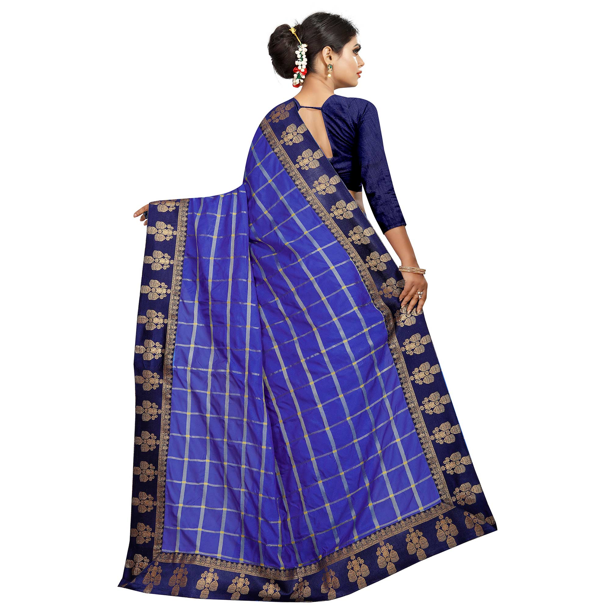 Excellent Blue Colored Festive Wear Woven Silk Saree
