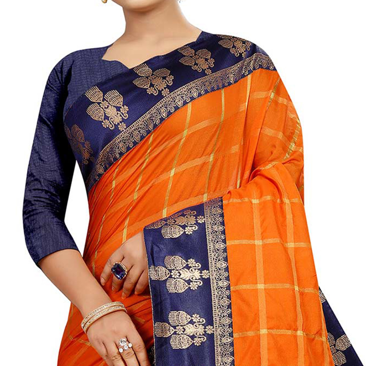 Opulent Orange Colored Festive Wear Woven Silk Saree