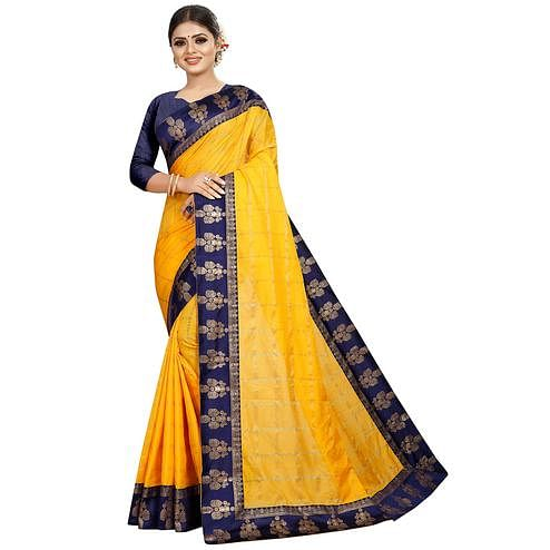 Energetic Yellow Colored Festive Wear Woven Silk Saree