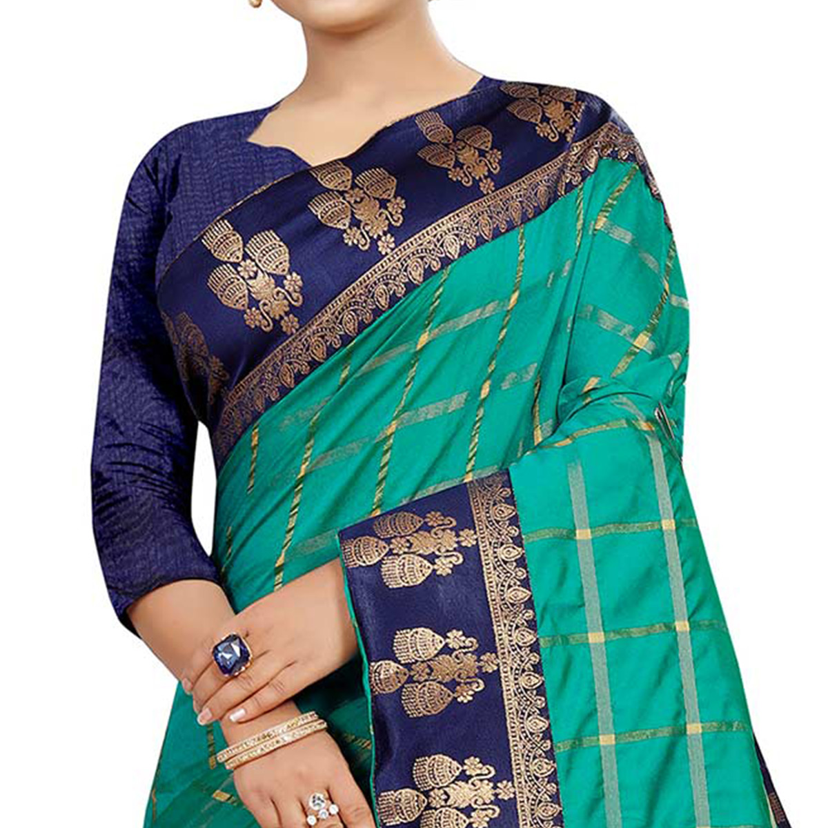 Glowing Turquoise Green Colored Festive Wear Woven Silk Saree