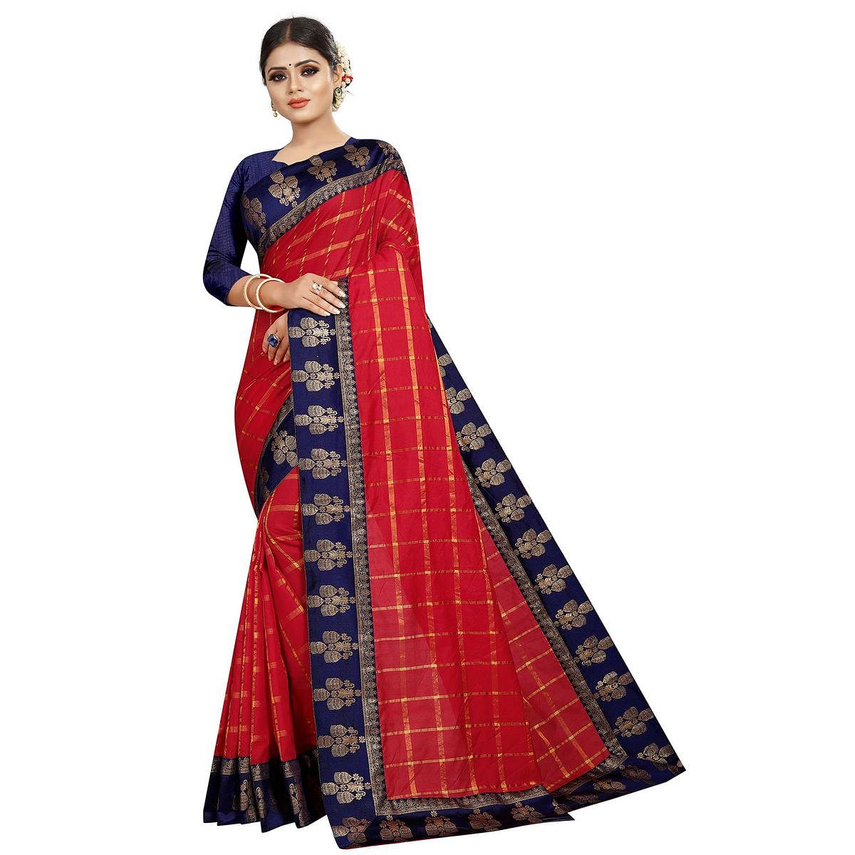 Exceptional Red Colored Festive Wear Woven Silk Saree