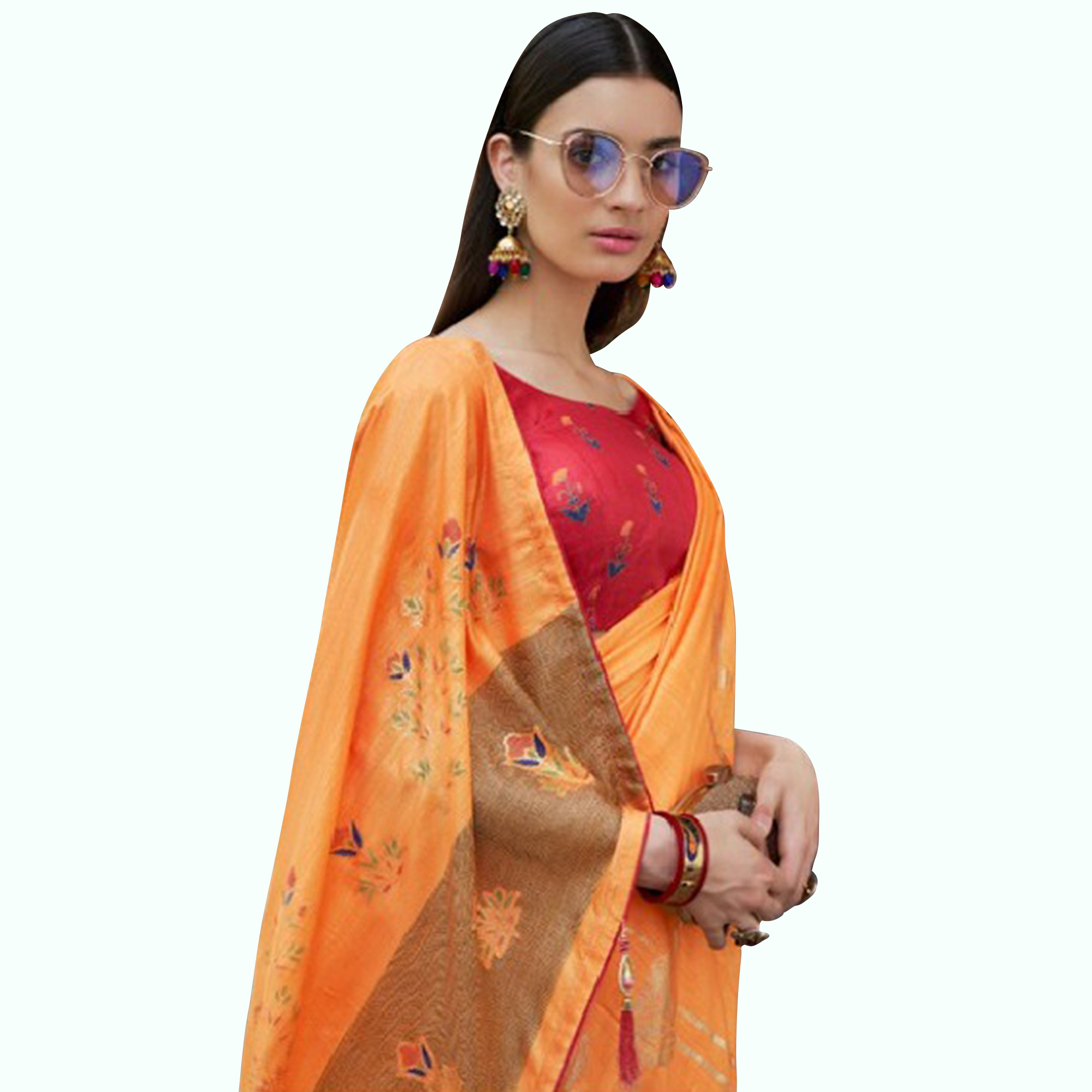 Marvellous Orange Colored Festive Wear Printed Silk Saree