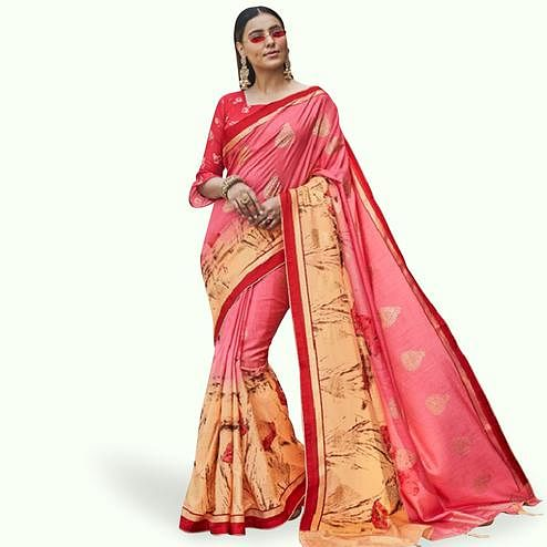 Flamboyant Pink Colored Festive Wear Printed Silk Saree