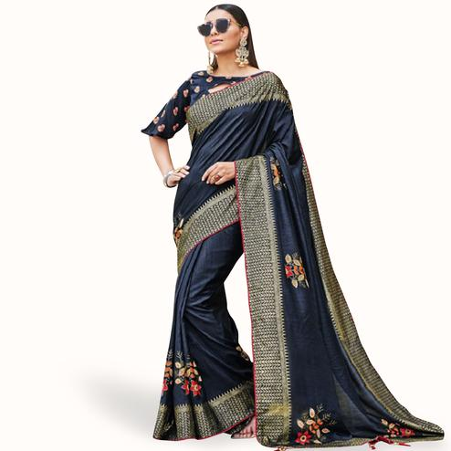 Pretty Navy Blue Colored Festive Wear Printed Silk Saree