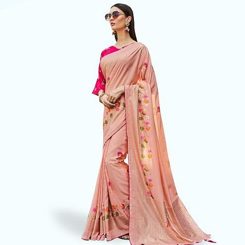 Alluring Peach Colored Festive Wear Printed Silk Saree