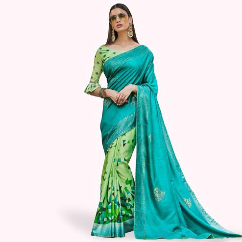Sensational Green Colored Festive Wear Printed Silk Half-Half Saree