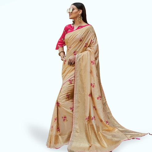 Flaunt Beige Colored Festive Wear Printed Silk Saree