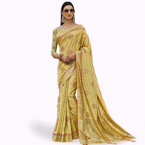 Stunning Lemon Yellow Colored Festive Wear Printed Silk Saree
