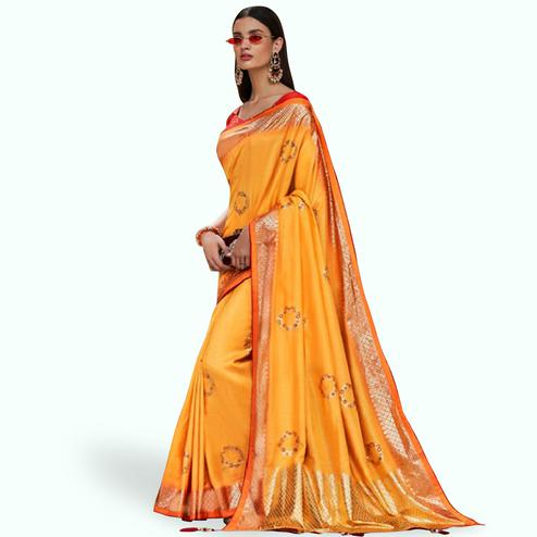 Surpassing Orange Colored Festive Wear Printed Silk Saree