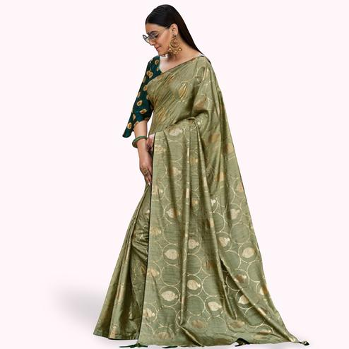 Dazzling Pastel Green Colored Festive Wear Printed Silk Saree