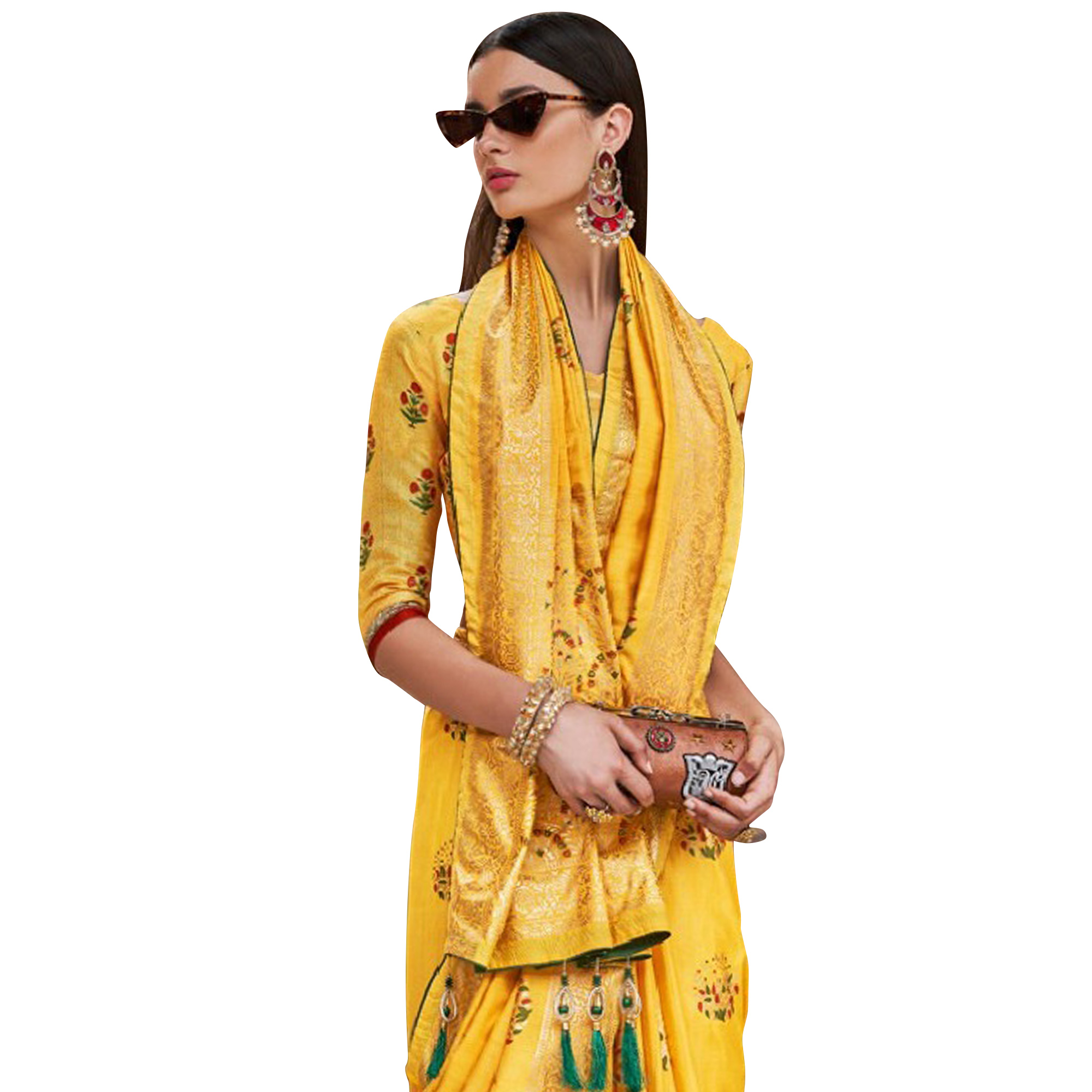 Staring Yellow Colored Festive Wear Printed Silk Saree