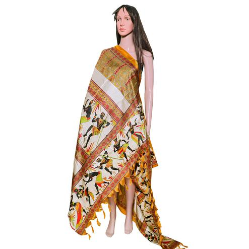 Adorable Yellow Colored Festive Wear Printed Khadi Silk Dupatta