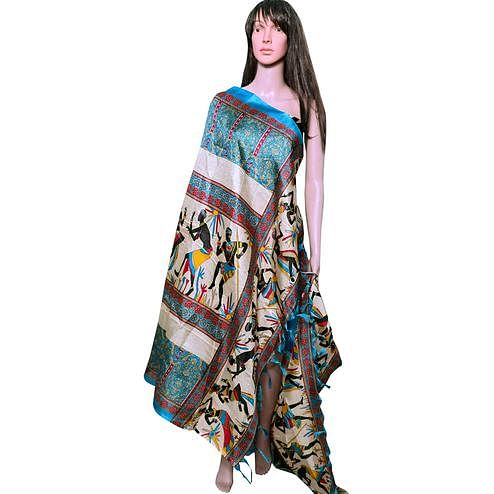 Attractive Blue Colored Festive Wear Printed Khadi Silk Dupatta
