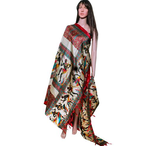 Beautiful Red Colored Festive Wear Printed Khadi Silk Dupatta