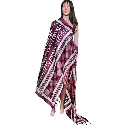 Charming Maroon Colored Festive Wear Printed Khadi Silk Dupatta