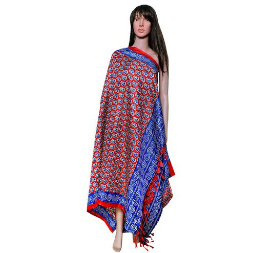 Engrossing Red-Blue Colored Festive Wear Printed Khadi Silk Dupatta